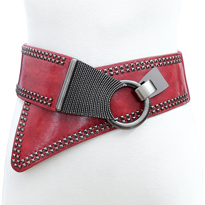 High Quality Leather Cummerbunds Female Wide Belt Vintage Punk Woman Belts For Dress Asymmetry Novelty Rivet Elastic Waistband