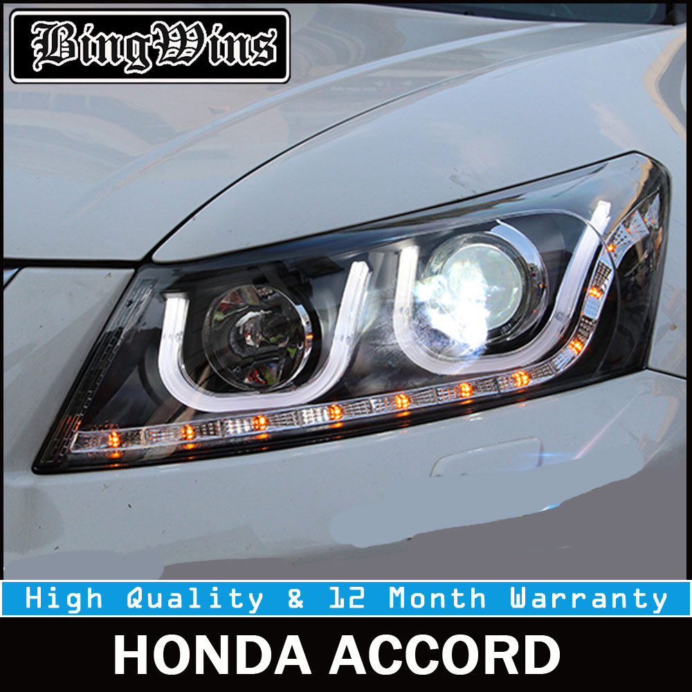 Car styling For Honda Accord Led Headlights 2008-2012 Head Lamp U Angel eye led DRL fron ...