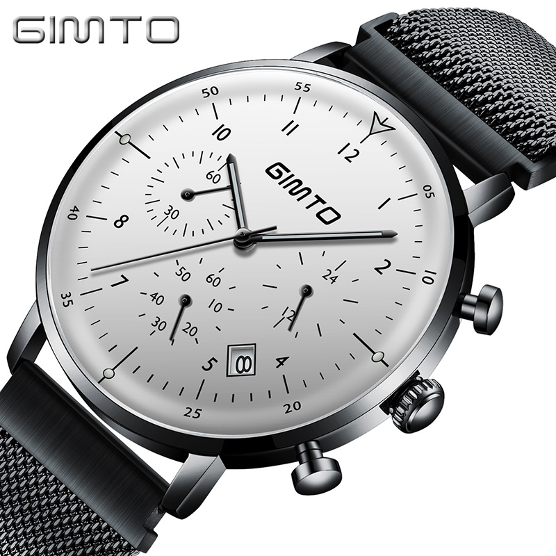 GIMTO 2018 Luxury Brand Men Watch Mesh Steel Creative Date Quartz Wristwatch Male Clock Military Sport Watches Relogio Masculino gimto top brand luxury men watch leather military male watches big dial calendar quartz wristwatch sport clock relogio masculino