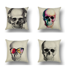 YVEVON  Square Skull Painting Couch Seating Throw Pillow Cover Zipper Cushion Case Room Sofa Decor Covers 45cm 18inch