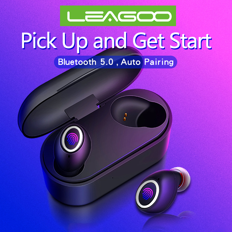 Fingerprint Touch Bluetooth Earphones 5.0 <font><b>TWS</b></font> for Leagoo T S M <font><b>13</b></font> 10 11 8 8sPro Z 9 7 Power Leapad Wireless Earbuds dual Mic image