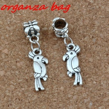 20pcs/lot Dangle Ancient silver Parrot Bird Charm Big Hole Beads Fit European Bracelet Jewelry 8x32mm A-251a
