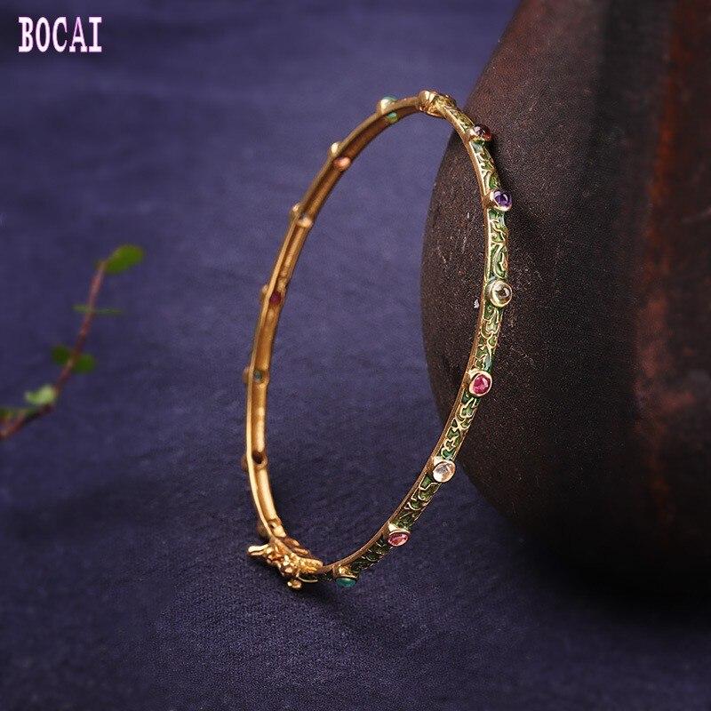 Bracelets pour femmes en argent sterling 925 en émail naturel coloré