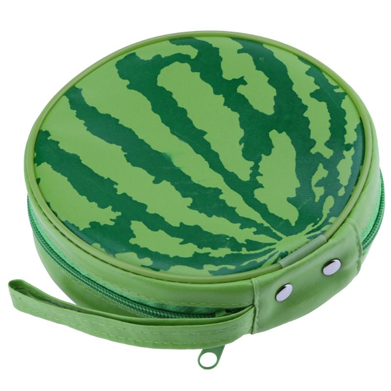 ALLOYSEED Watermelon Pattern DVD CD Storage Case Holder Carry Box Portable 24pcs Disc Capacity Round Wallet Cover Bag