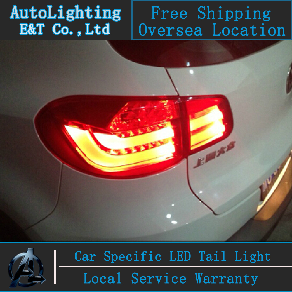 Shipping Option For VW Tiguan taillight assembly 2010-2012 VW led tail lamps drl rear trunk lamp cover signal+brake+reverse.