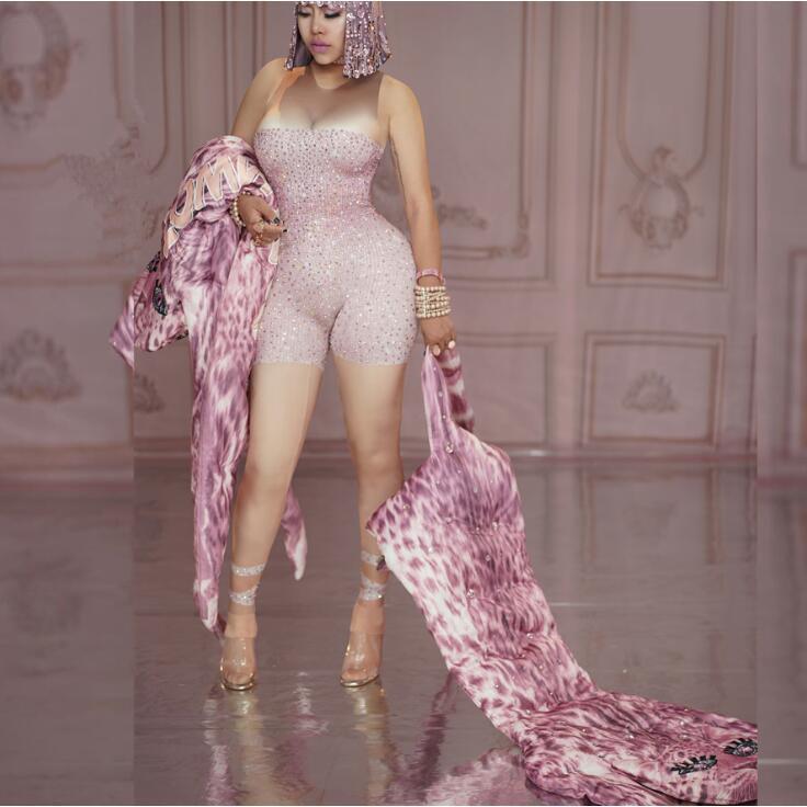 Pink Rhinestones Nude Stretch Sexy Jumpsuit Female Singer Summer Costume Birthday Bodysuit Leggings Nightclub Party Wear