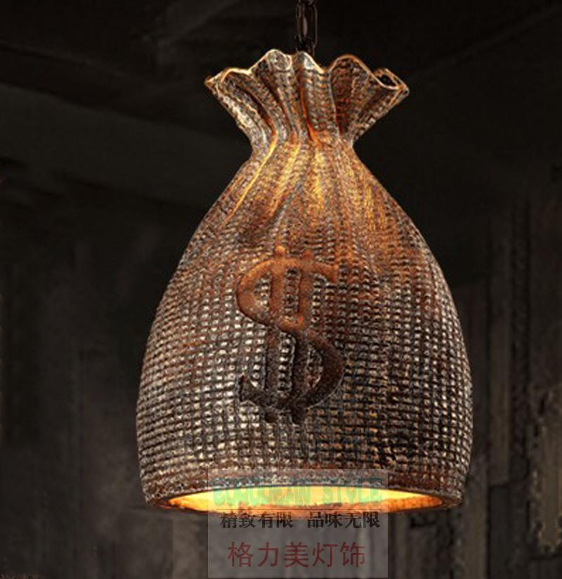 Loft Retro Vintage Edison Bulbs Resin Purse Iron Cafe Loft Pendant Lamp Chandelier Lamp Droplight