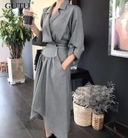 LANMREM Autumn And Spring Korea 2018 New Fashion Notched Three Quarter Sleeve Irregular Hem Mid Calf