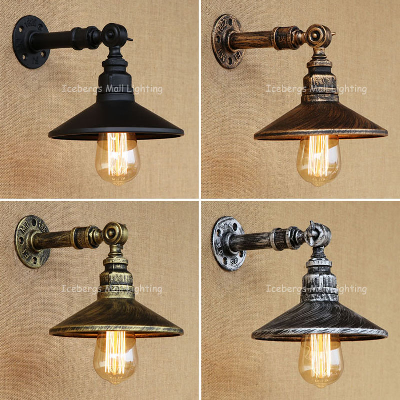 New RH Iron Industrial Pipes E27 Retro Lamp Vintage Loft American Aisle Water Pipe Wall Lamp Bar Restaurant water pipes light source set produced 75 industrial water wall lamp retro cafe loft american iron wall zzp