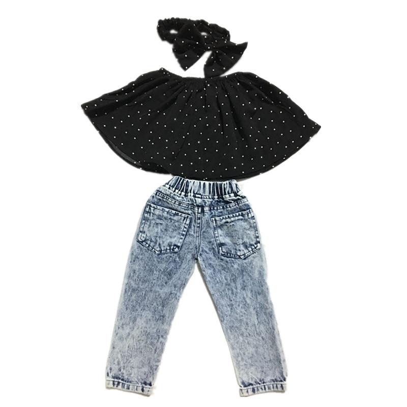b9f94d3293ed5 2018 Infant Baby Girls Clothes Sets Dot Sleeveless Tops Vest Hole Denim  Pants Headband 3pcs Clothing Set Baby Girl Jeans 2 7Y-in Clothing Sets from  Mother ...
