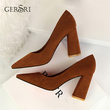 Gersri 2020 Pumps Women Shoes Camel Flock Single Shoes Female Slip-On Shallow Wedding Party Pumps Pointed Toe Square Heel Pump