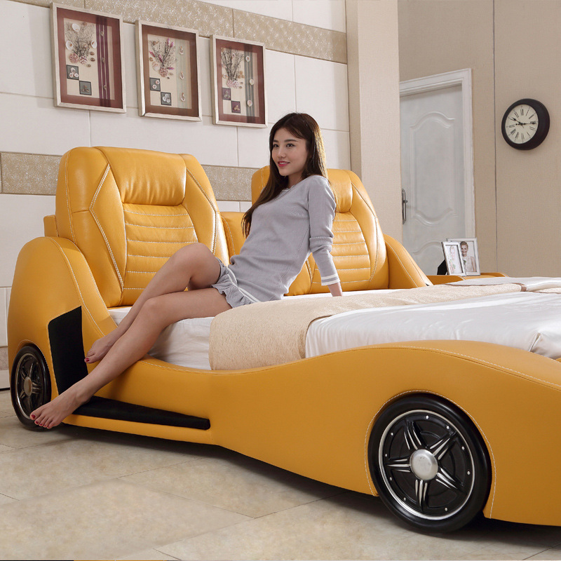 Bed Personalized Sports Car Lamborghini Shaped Leather Bed High-end Hotel General Motors Bed Factory Direct#CE-103