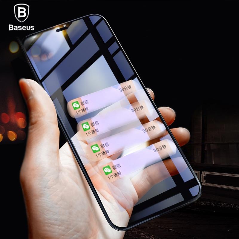 Baseus 0,2 мм ультра тонкий 6D полный охват Экран протектор для iPhone X 9 H закаленное Стекло Передняя защитная стекло фильм