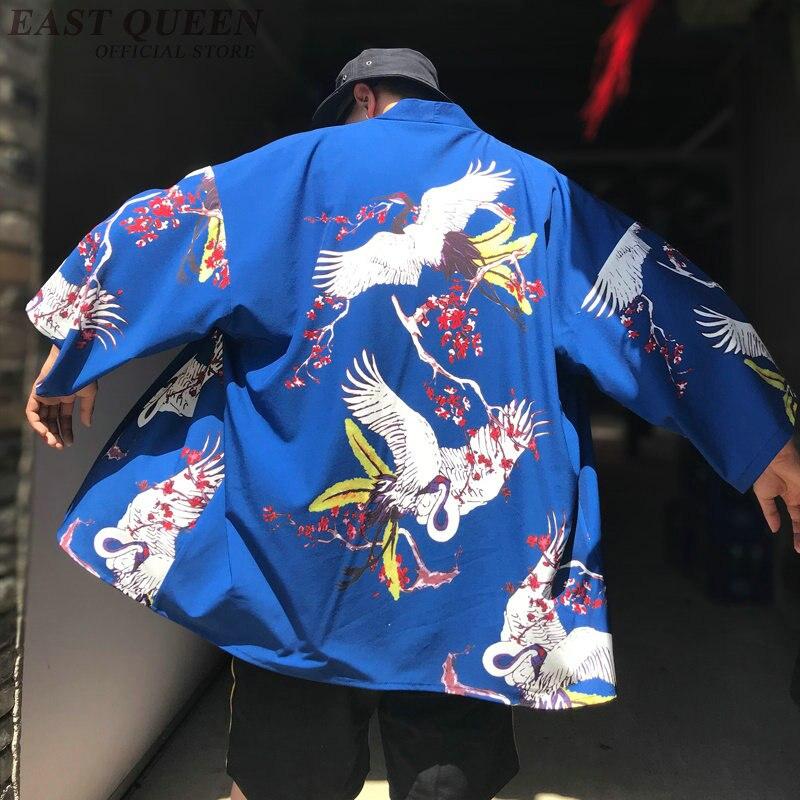 Kimono cardigan hombres tradicional japonés ropa yukata Japón kimono hombres ropa de samurái haori hombre AA3851 Y un Kimono de satén para hombre japonés disfraz de samurai japonés dragón chino pijamas Haori ropa asiática vestidos de noche fiesta en casa Yukata