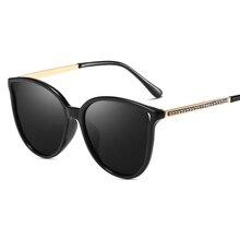 2019 New Brand Fashion Womens Polarized Sunglasses Ladies Oversized Cateye For Driving Rhinestone Cat Eye Sun Glasses