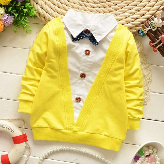 Spring Autumn Casual Gentleman Baby Babi Children Clothing Boys Long Sleeve Bow Knot T-shirt Tops S1893