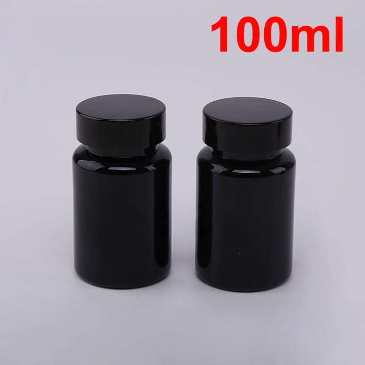 20 шт 100 мл ПЭТ толстые черные бутылки для таблеток Металлическая черная крышка, крышки sules бутылки, фармацевтическая пластиковая бутылка - Цвет: Black Cap