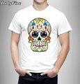 Новый Цвет Скелет Дизайн футболки для мужчин Прохладный Моды Топы с коротким Рукавом Тройники