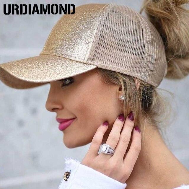 URDIAMOND 2019 Cola de Caballo gorra de béisbol de las mujeres desordenado bollo del Snapback de malla de verano sombreros de deporte Casual de tapas envío sombrero