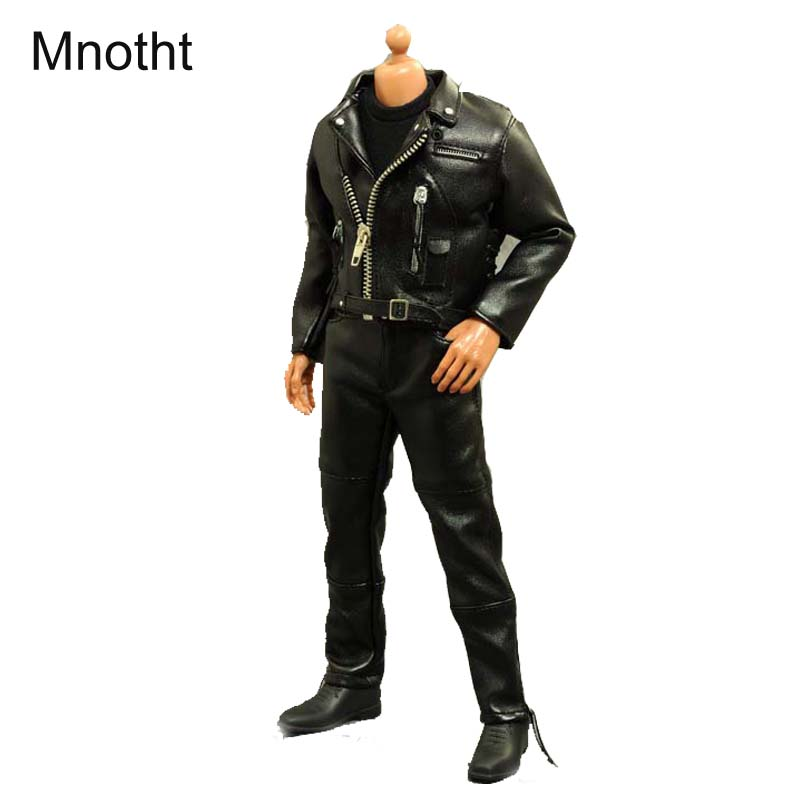 Mnotht 1 6 Male Solider locomotive Leather clothing Black Jacket Pant Belt Fit 30cm High Male