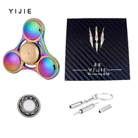 EDC Anti Stress Titanium Alloy Tri Spinners Rainbow Hand Spinner Colorful Fidget Spinner Reduce Stress For