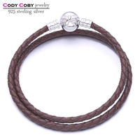 Double Brown Leather Knot Charm Bracelet With 925 Sterling Silver Bow Clasp Bracelets For cody coby charms Women Men berloques
