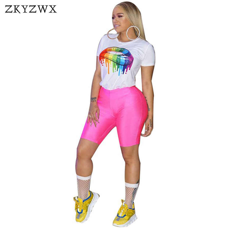 56b4a9a9bb ... ZKYZWX Print Tracksuit Two Piece Set Women Summer O-Neck Short Sleeve  Crop Top And ...