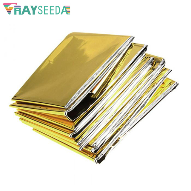 Rayseeda Folding Emergency Blanket 210cm*130cm Silver/Gold Emergency Survival Rescue Shelter Outdoor Camping Keep Warm Blankets