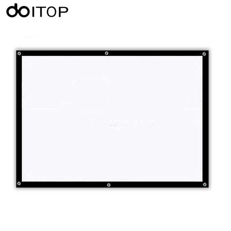DOITOP 60 pouce 16:9 Blanc Avant et Arrière Écran De Projection Portable Haute-définition Rideau Bureau À Domicile Projecteur Écran A3