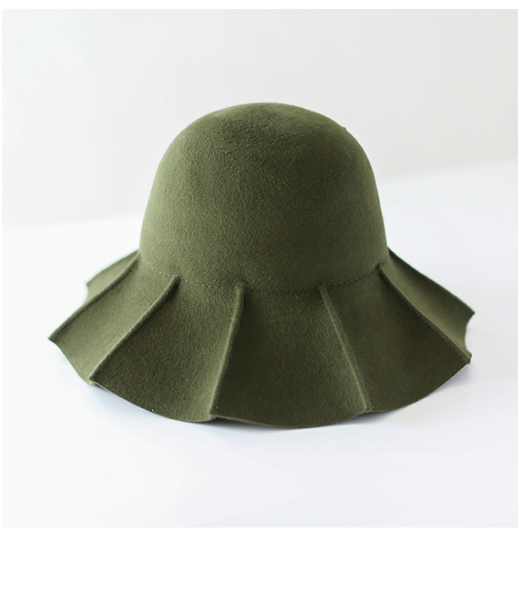 01808-weimin 100% wool special brim Special raising technology lady winter bucket cap women panama wool leisure hat
