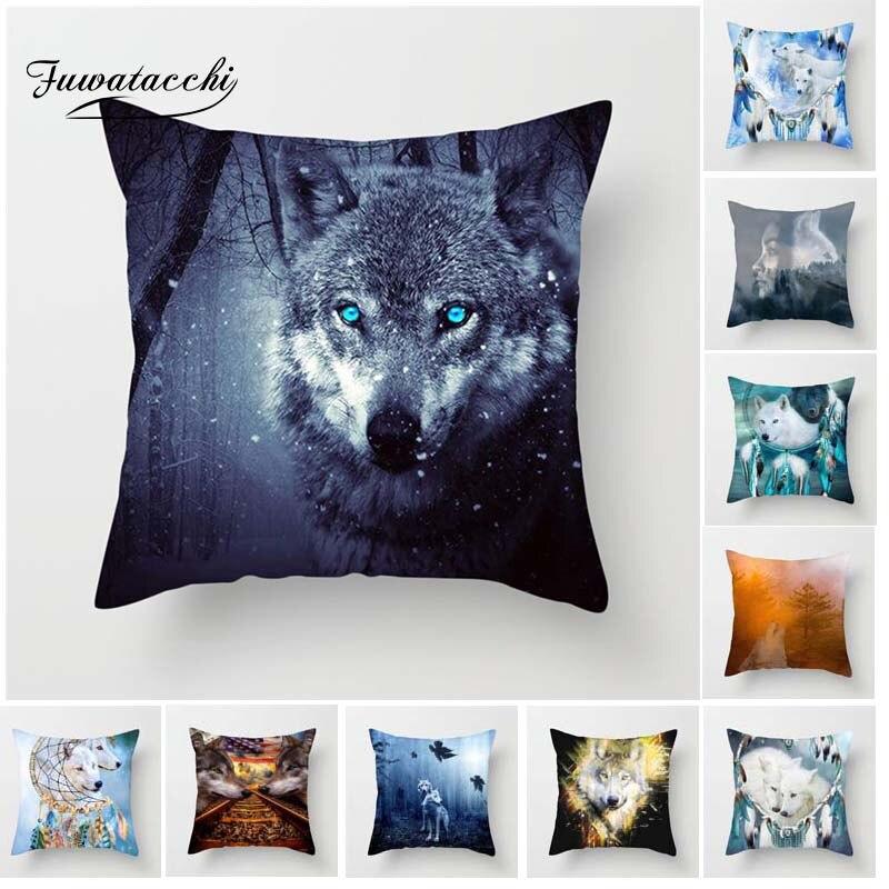 Fuwatacchi Lua Uivo do Lobo Feroz Lobo Capa de Almofada Fronha Para Home Cadeira de Lobo na Floresta Almofadas Decorativas 45*45 cm