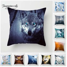 Fuwatacchi Ferocious Wolf Cushion Cover Howl Moon Pillow For Home Chair in the Forest Decorative Pillows 45*45cm