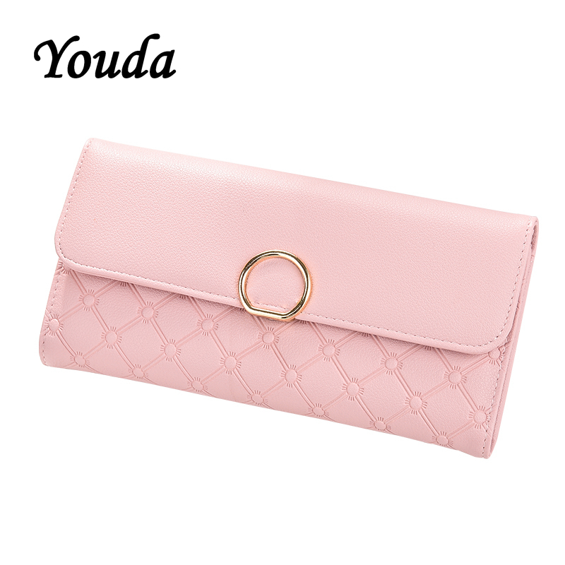 Youda New Ladies Wallets Female Long Clutch Bag Large Capacity Two Fold Wallet Sweet Lady Purse Fashion Style Card Package(China)