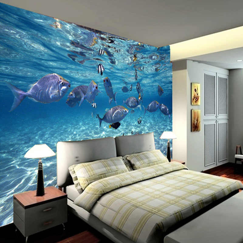 3D papier peint dessin animé créatif sous-marin monde vie Marine murale enfants chambre Aquarium salon toile de fond papier peint décor à la maison