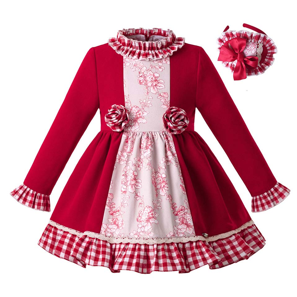 Pettigirl New Autumn Red Stereoscopic Flower Gird Baby Girls Dress Vintage Kids Dress Children Christmas Clothing