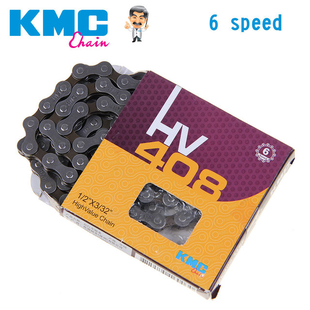 KMC HV408 6 Speed Bicycle Chain Bike Chain for MTB/Road Bike fo Shimano/SRAM 116L /Chain Bike Silver Grey