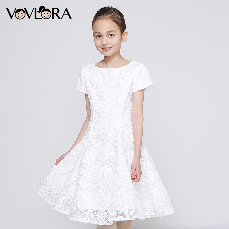 Girl Princess Dress Floral Lace Short Sleeve Tiered Kids Wedding Dress A Line White Children Clothes Size 9 10 11 12 13 14 Years girl dress autumn white long sleeved clothes korean cotton size 4 5 6 7 8 9 10 11 12 13 14 years kids blue lace princess dress