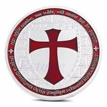 Посеребренные масонские Рыцари Тамплиер черный крест сувенирная памятная монета