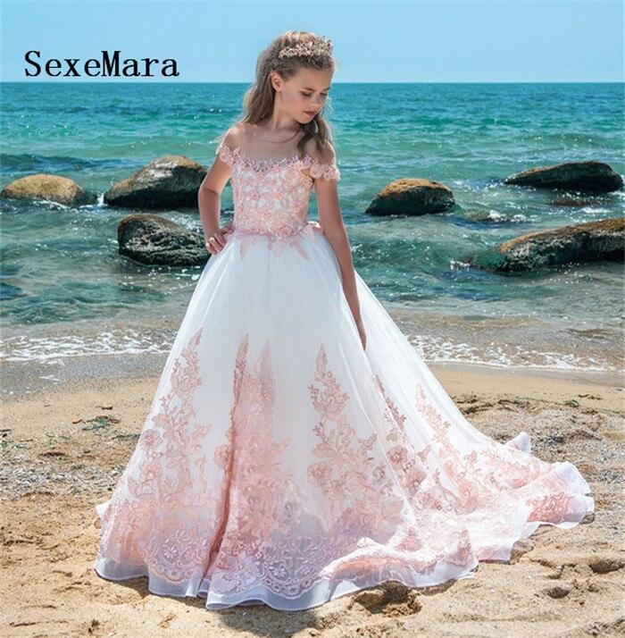 Fantaisie rose une ligne fleur fille robes manches courtes dentelle Applique robe d'anniversaire robe de noël avec Train Glitz taille 0-16Y