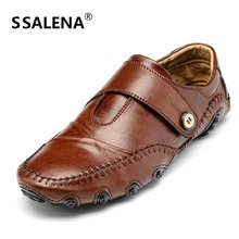 Men Split Leather Casual Shoes Men Round Toe Breathable Oxfords Shoes Male Botton Soft Sole Loafers Big Size 38-47 AA20239