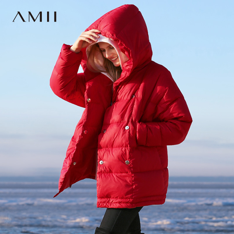 Amii Minimalist Hoodie Oversize   Down   Jacket 2018 Autumn Winter Causal Solid 90% White Duck   Down   Thick Shorts   Down     Coat