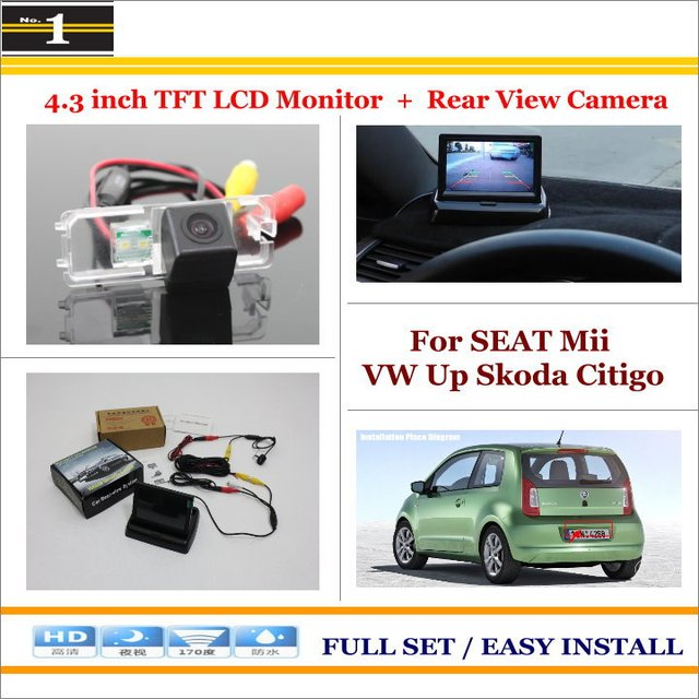 "Para a SEAT Mii VW Up Skoda Citigo-4.3 ""TFT LCD Monitor + Retrovisor Do Carro Back Up Camera = 2 em 1 Sistema De Estacionamento"