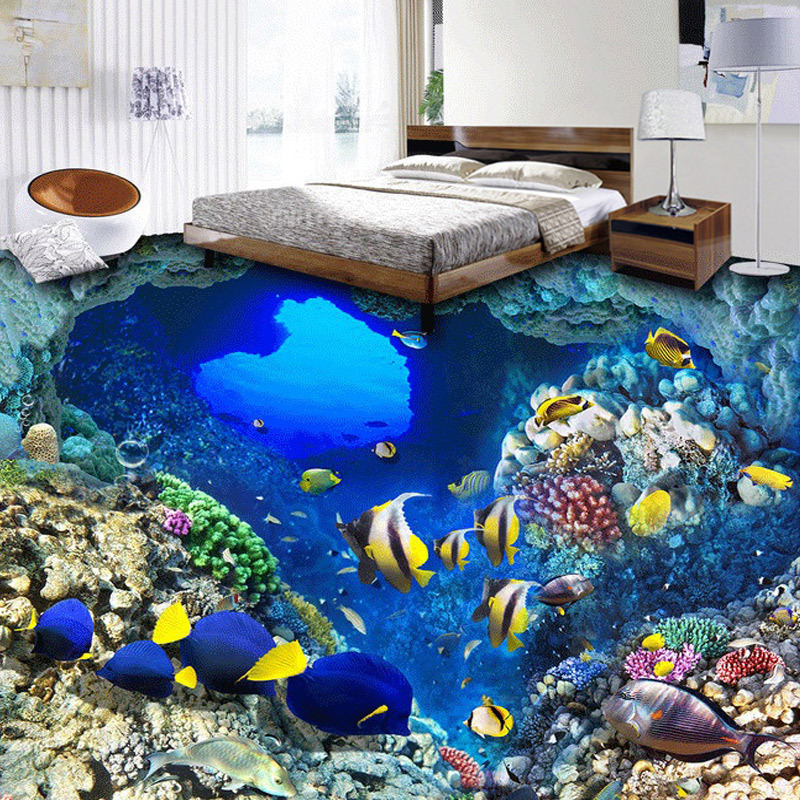 1010 sea fish pattern self adhesive toilet seat cover for Decoration murale sticker