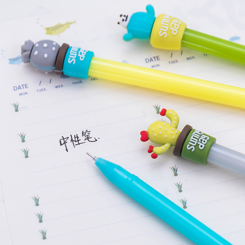 Jonvon Satone 8pcs/lot South Korea Stationery Creative Cactus Pen Stationery Cute Pen Kawaii School Supplies Black Gel Pens 12pcs lot south korea stationery love secret garden straight liquid type fountain pen 2017