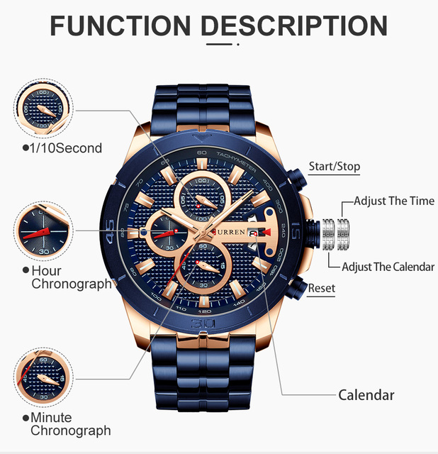 CURREN Men's Luxury Brand Business Steel Casual Waterproof Male Chronograph Auto Date Quartz Watches 2