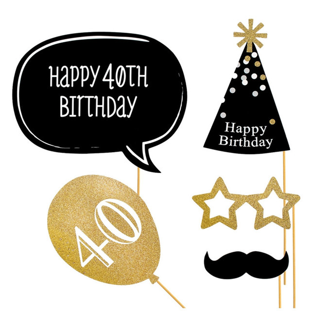 21pcs Set 40th Birthday Photo Booth Props Happy 40 Years Party