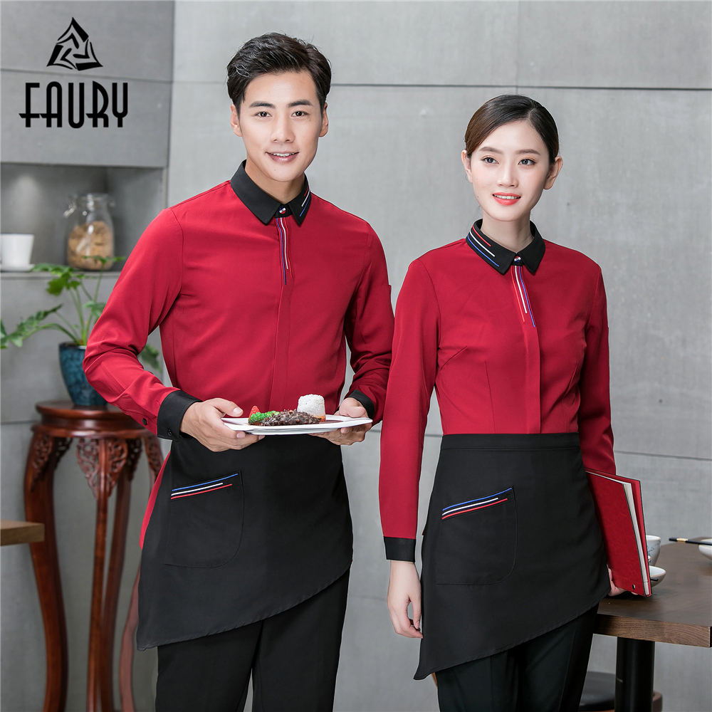 Single Breasted Long Sleeve Suit Collar Waiter Waitress Work Uniforms Hotel Bakery Cafe Restaurant Workwear Shirts Overalls Tops