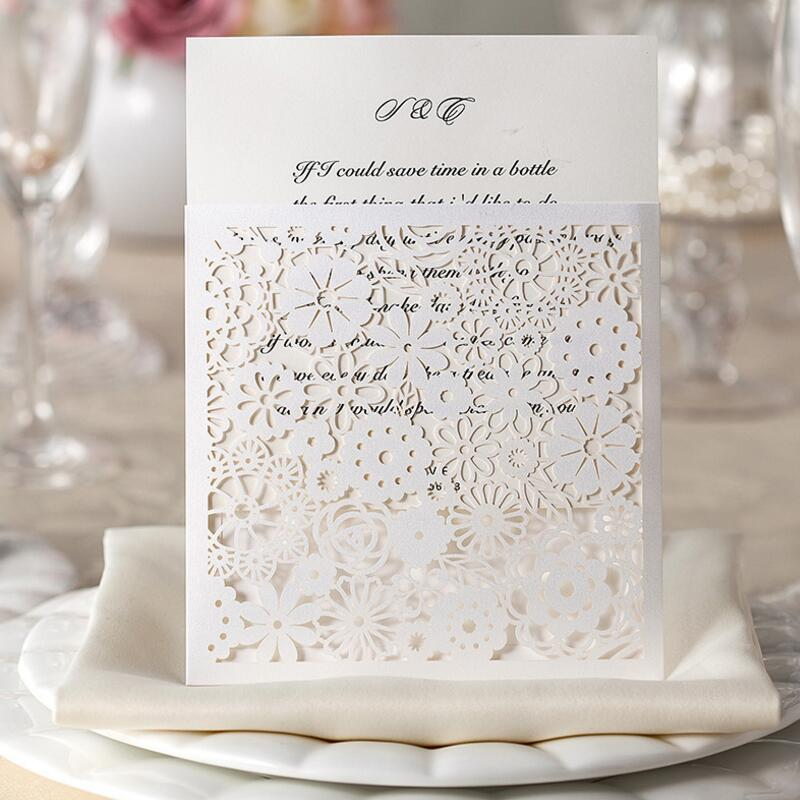 50pcs/pack Square Wedding Invitations Kits Lace Hollow Flower Party Invites Engagement for Marriage Birthday Cards Bride Shower цены онлайн