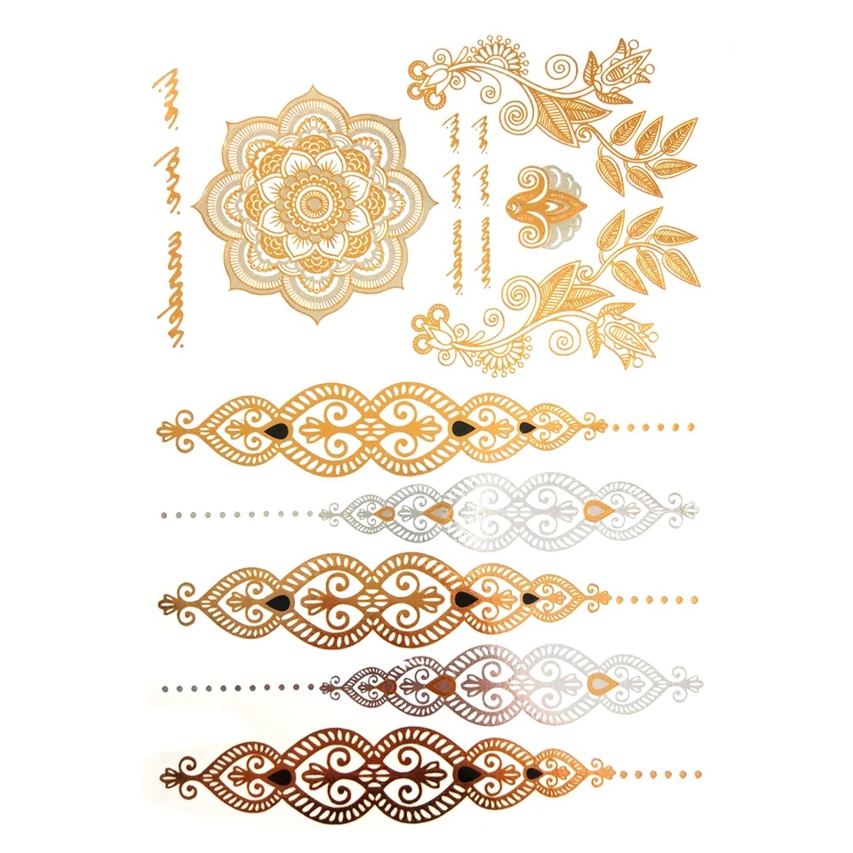 Hot sales temporary tattoo gold tattoo sex products necklace bracelet metal women flash metallic gold silver tattoos 1
