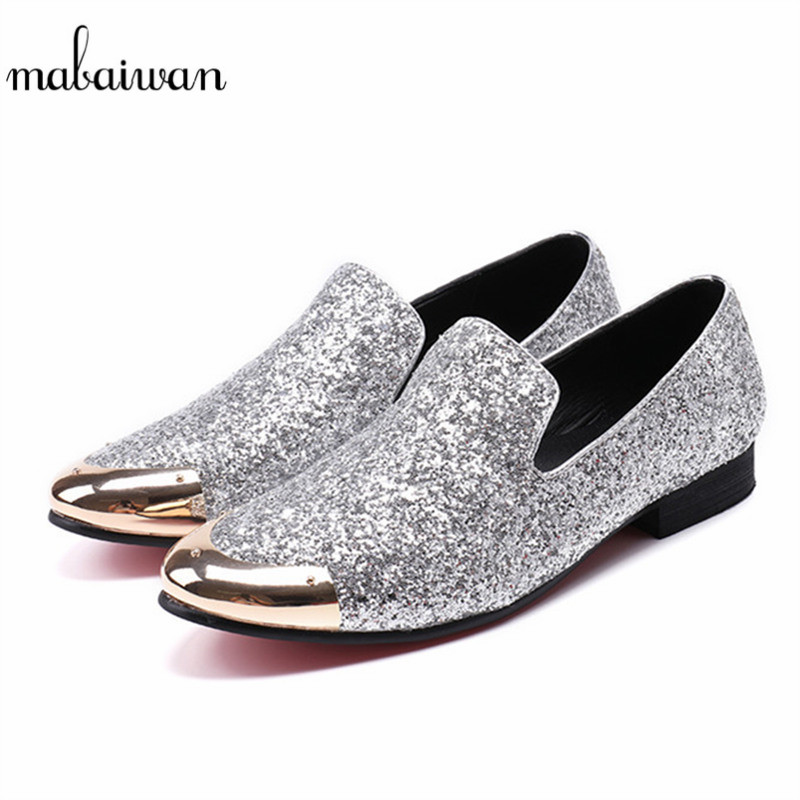 Mabaiwan 2018 Fashion Silver Glistening Glitter Men Loafers Sequins Slippers Casual Shoes Mens Wedding Dress Shoes Party Flats ovxuan metal skull buckle handmade men ankle shoes punk party dress loafers glitter bright sequins men flats casual rivets shoes